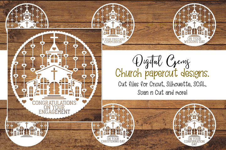 Church paper cut design bundle. SVG / DXF / EPS / PNG files.