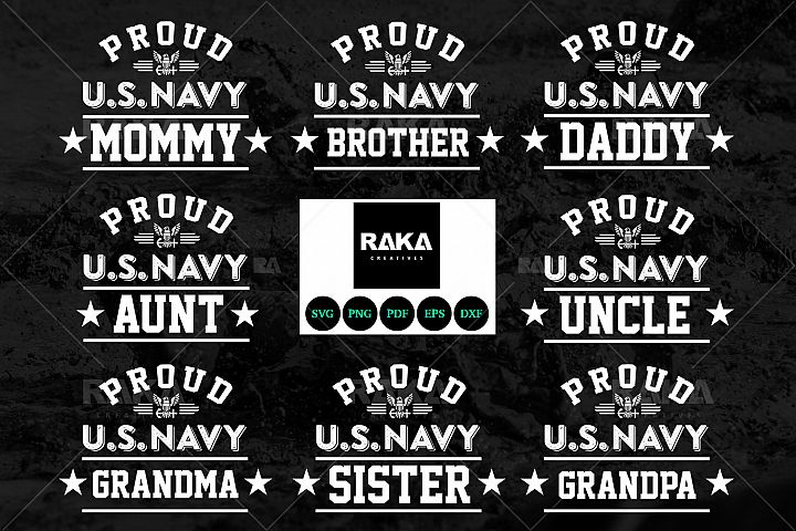 13 Style Proud US Navy & Military Family in SVG Files