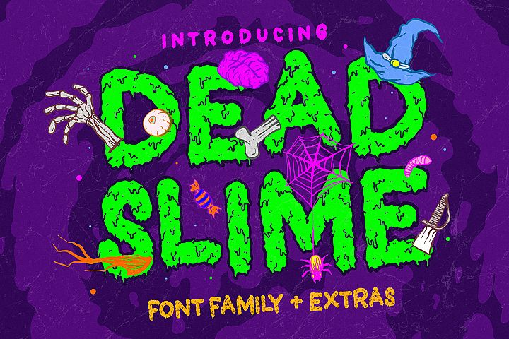 Dead Slime 6 Fonts | Extras 50 Illustrations