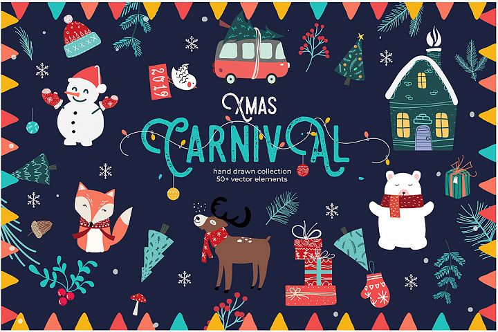Xmas Carnival, Hand drawn Graphics