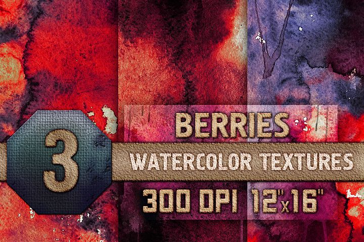 3 Berries Watercolor Texture Digital Papers, Backrgounds HQ