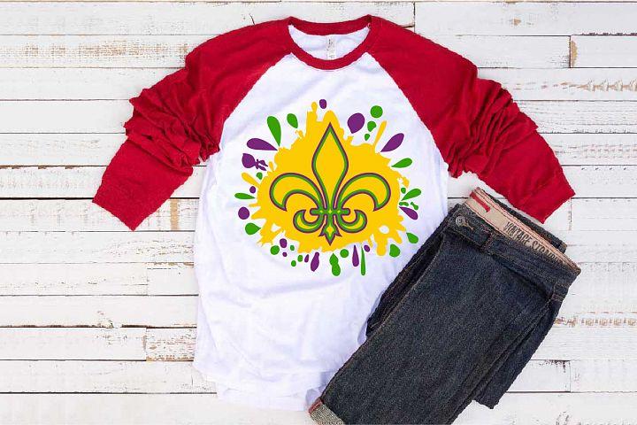 Fleur de Lis Mask Mardi ink Splash Gras SVG Tuesday 1279s