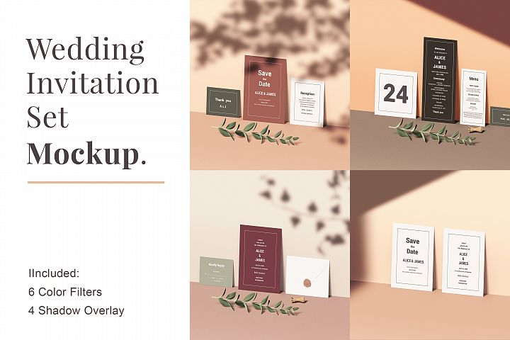 Wedding Invitation Set Mockup