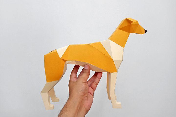 DIY Papercraft Greyhound dog sculpture,Papercraft templates