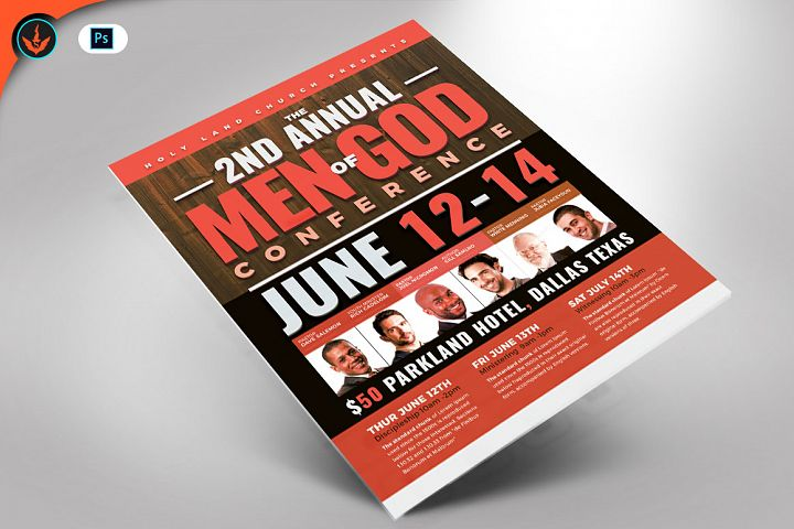 Men of God Conference Flyer Photoshop Template