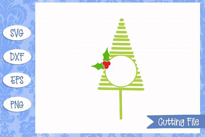 Christmas tree monogram s cut File