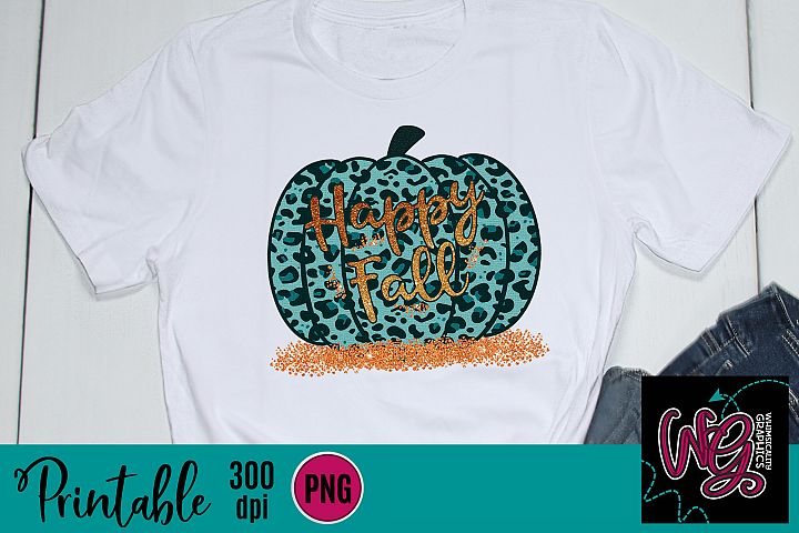 Teal Leopard Pumpkin Hello Fall Sublimation Printable