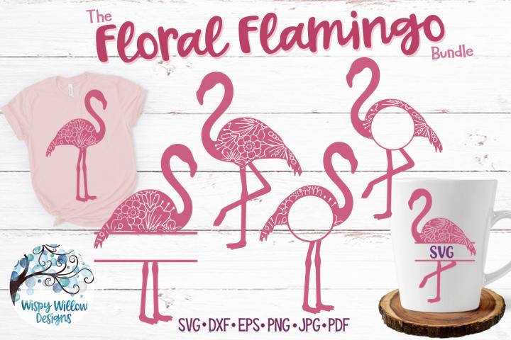 Floral Flamingo SVG Bundle | Monogram Flamingo SVGs