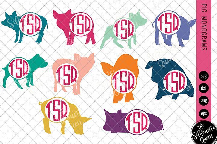 Pig Svg, Monogram Svg, Circle Frames, Cuttable Design, Cut f
