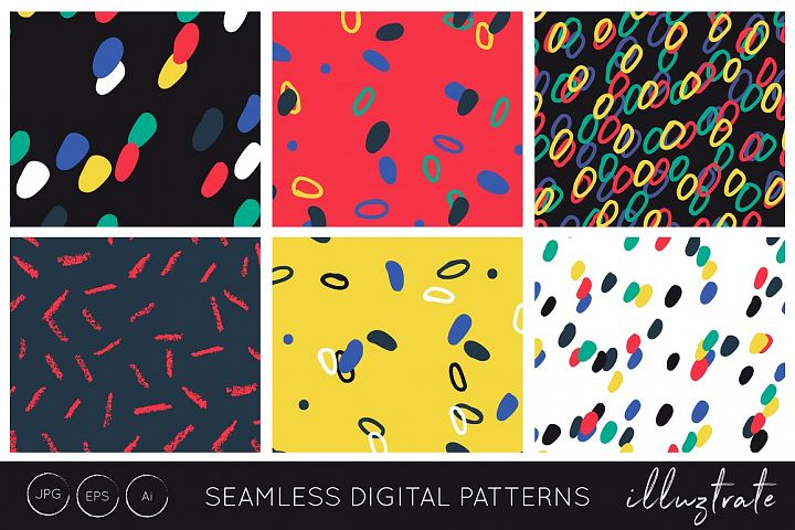 Hand Marks Seamless Patterns - Bright Digital paper