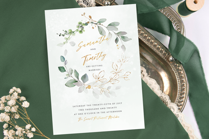 Watercolour Eucalyptus Wreath Wedding Invitation