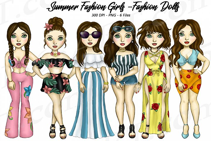 Summer Fashion Girls Planner Clipart, Fashion Girls PNG