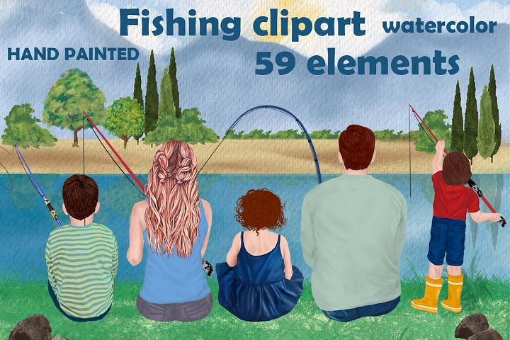 Fishing clipart, Family fishing, Fathers day clipart