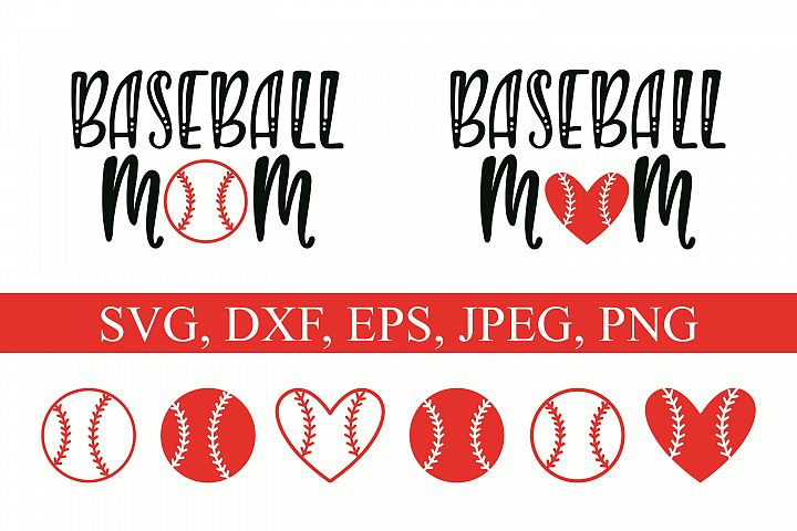 Baseball Mom and ball silhouettes. Hand drawn typography design. SVG DXF PNG EPS Cutting Files