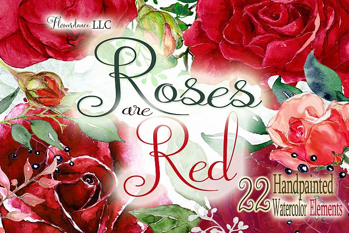 Red roses watercolor floral clipart, English Roses