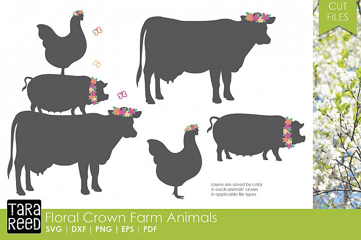 Floral Crown Farm Animals - SVG and Cut Files for Crafters