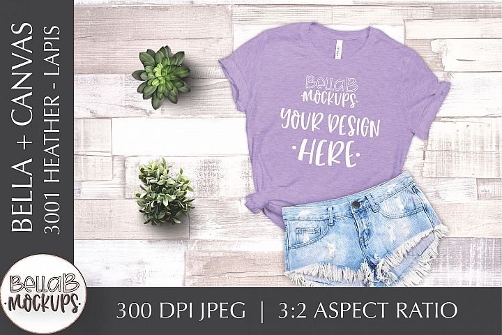 Bella Canvas 3001 Heather Womans T Shirt Mockup, Lapis