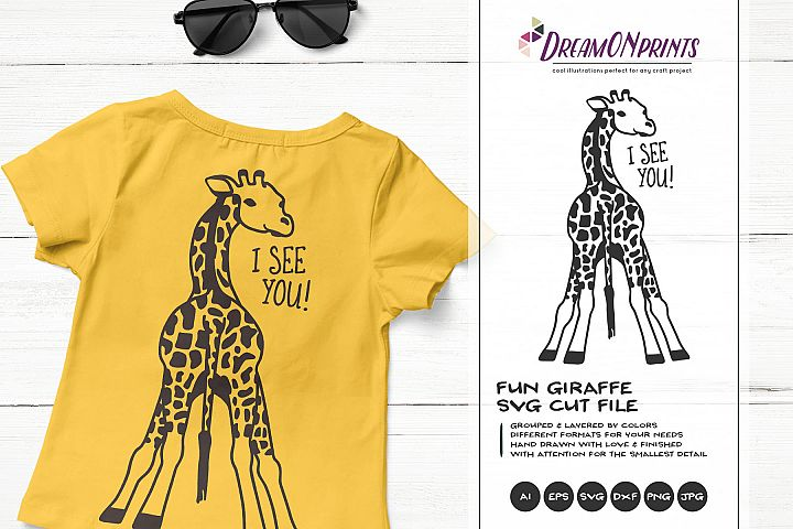 Giraffe SVG Cut File - Funny Giraffe Illustration