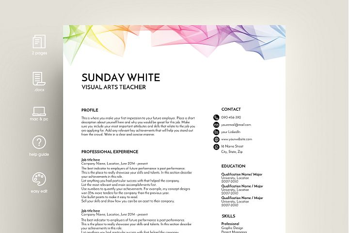 resume template, CV template, CV design, rainbow
