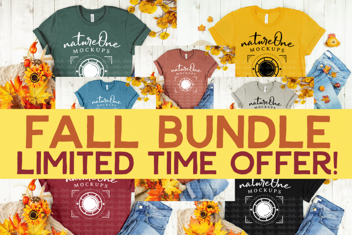 Fall Mockup Bundle Bella Canvas 3001 TShirt Halloween Autumn