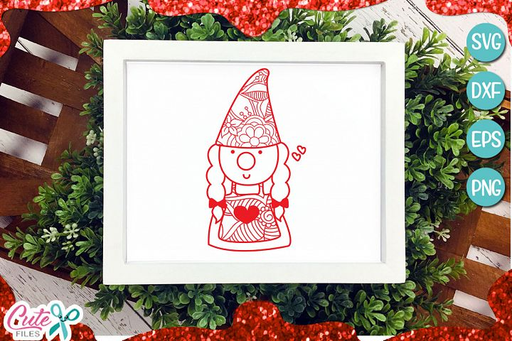 Gnome girl zentangle, Valentines day svg for crafters