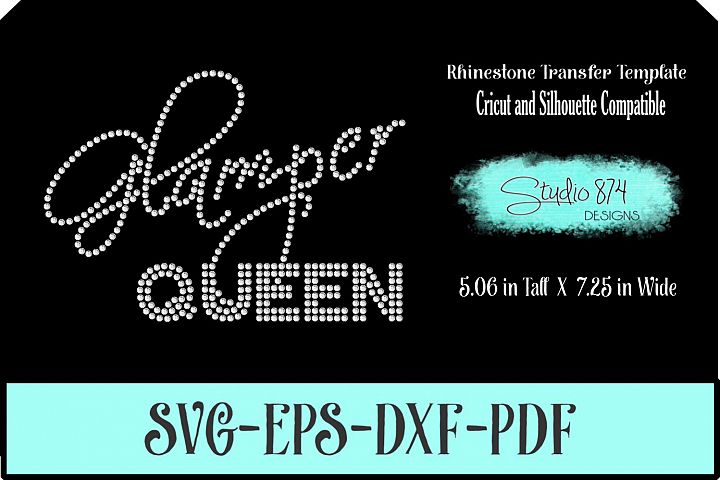 Glamper Queen Rhinestone SVG Template R1