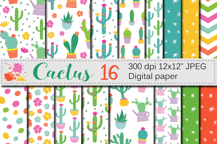 Cactus digital paper / Cute cacti plants seamless patterns / Bright potted cactuses scrapbook papers