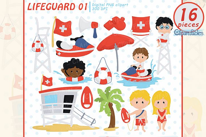 Little Lifeguard Clipart, cute baywatch clip art, summer