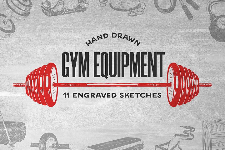 Gym equipment hand drawn sketches