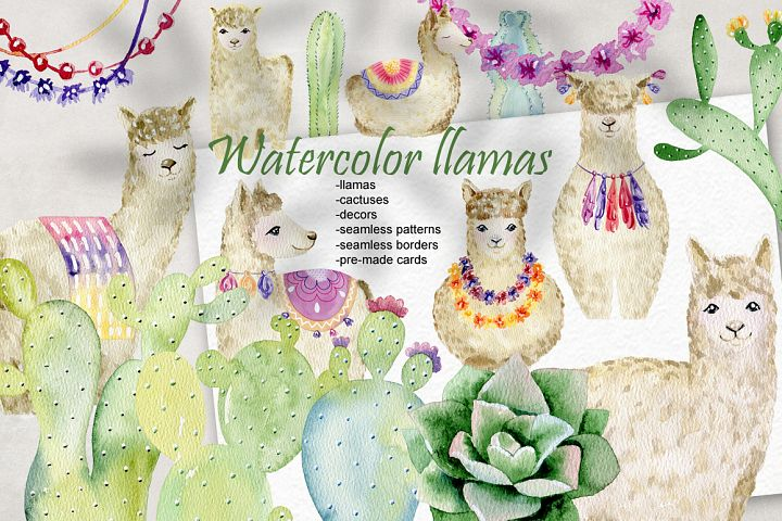 Watercolor llamas. Kit.