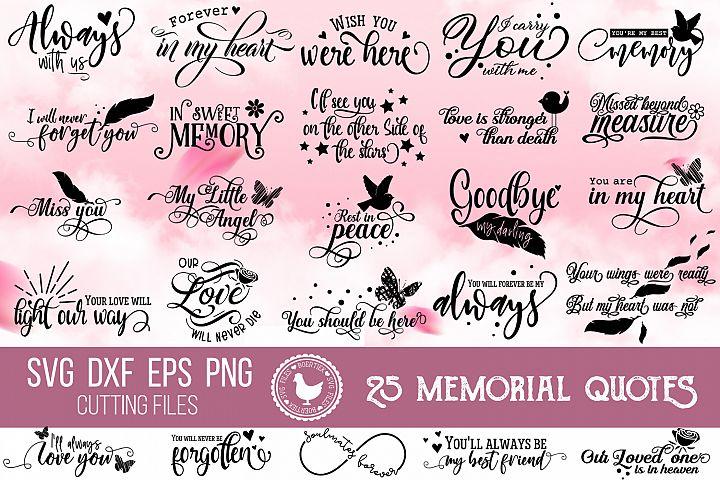 Bundle of 25 memorial quotes