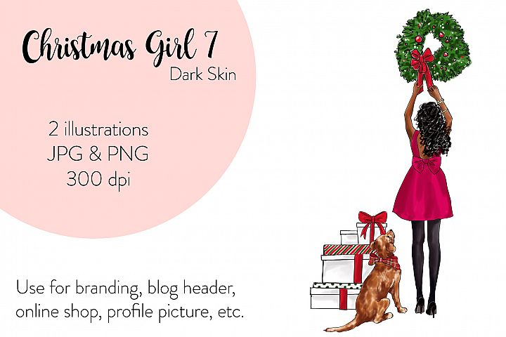 Fashion illustration - Christmas Girl 7 - Dark Skin