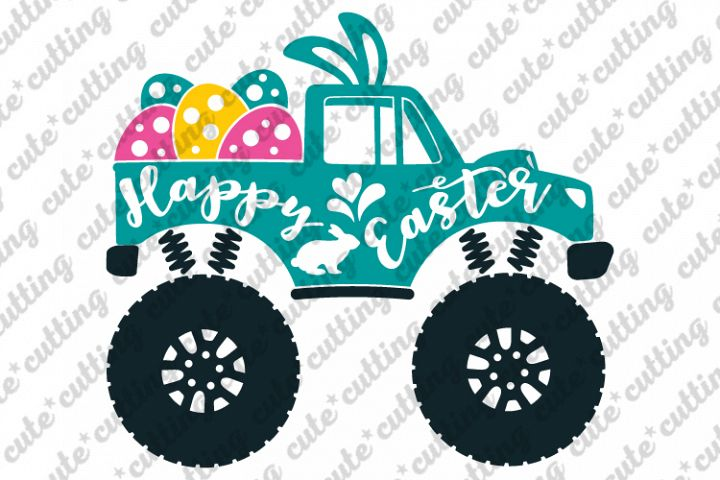 Easter svg, Easter Monster truck svg, truck with eggs svg