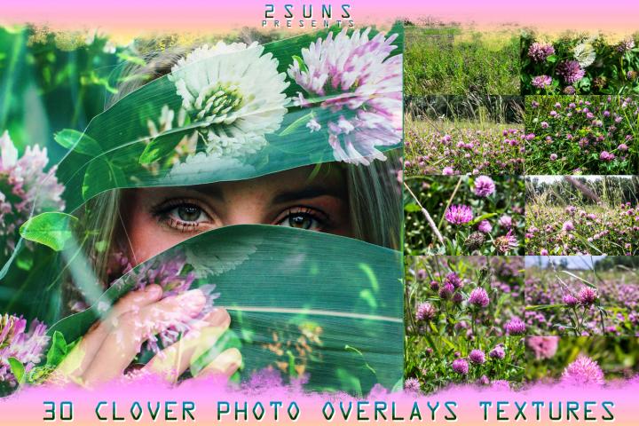 30 Nature textures clover flowers grass green digital