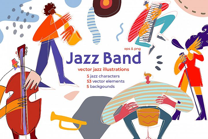 Jazz band modern vector characters