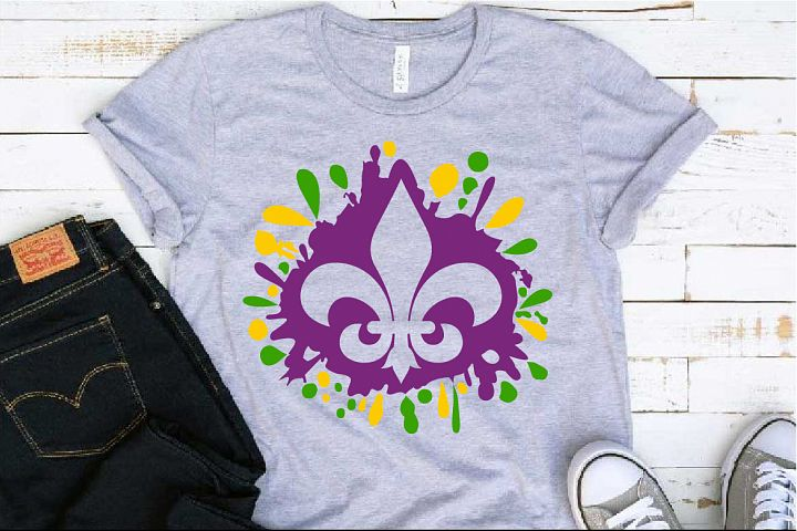 Fleur de Lis Mask Mardi ink Splash Gras SVG Tuesday 1278s