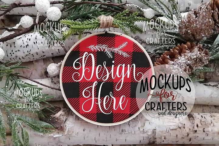 Embroidery Hoop Ornament, Buffalo Plaid fabric, Christmas