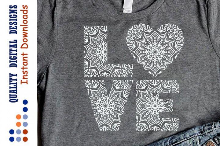 Lace Mandala Zentangle svg files Love sign