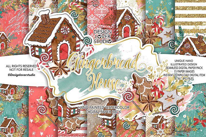 Gingerbread house digital paper pack