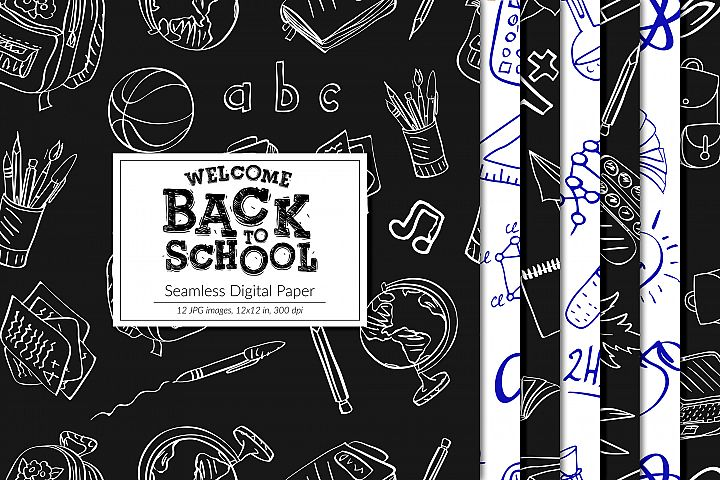 Back To School Digital Paper, Seamless School Patterns