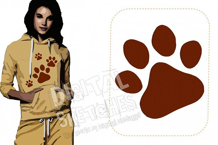 Paw Dog Cat Machine Embroidery Design 6 Sizes