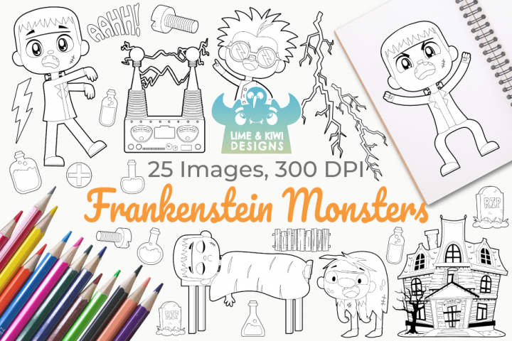 Frankenstein Monsters Digital Stamps
