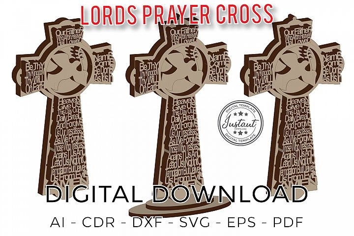 Lords Prayer Cross Our Father digital home model Vector