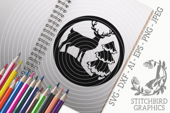Stag by Tree SVG, Silhouette Studio, Cricut, Eps, Dxf, Jpeg