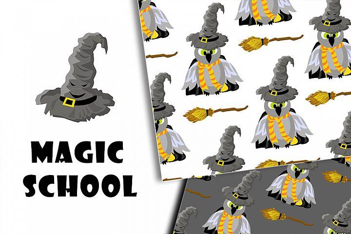 Magic school. A set of patterns. Hogwarts and Harry Potter.