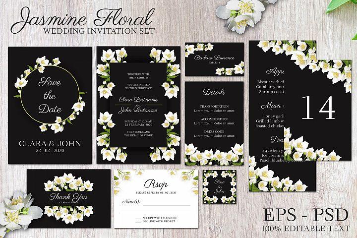 Jasmine floral wedding invitation set