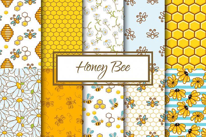 Honey Bee Seamless Patterns
