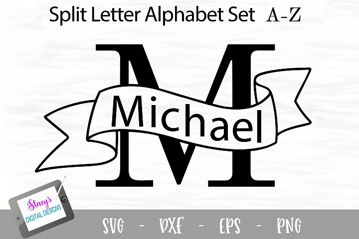 Split Letters A-Z - 26 Split Monogram SVG files with banners