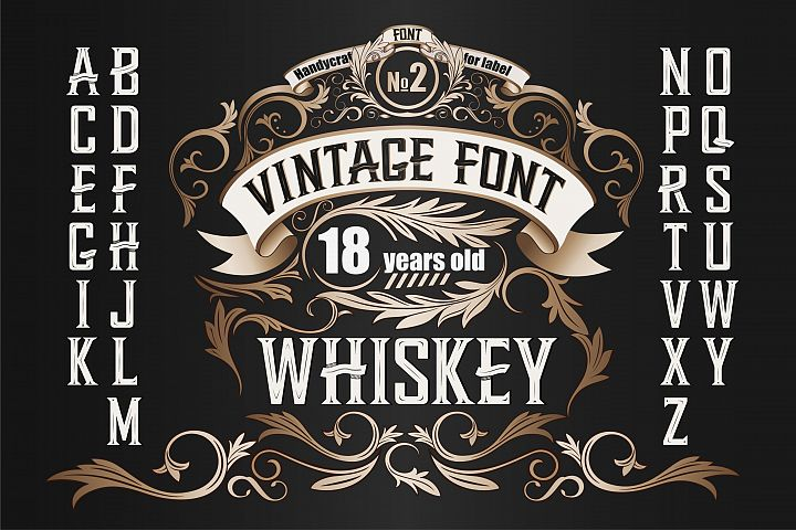 Whiskey OTF label font. Uppercase only!