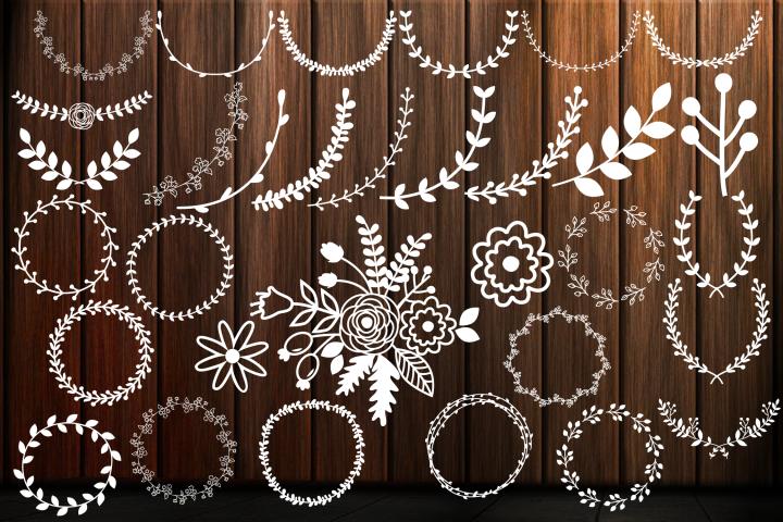 Laurel Wreath SVG, Floral Frames SVG